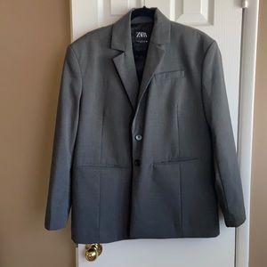 Zara Split Back Vented Oversized Grey Blazer